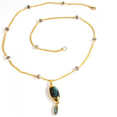 873210N Labradorite Pendant Station Chain Necklace by La Isla Jewelry