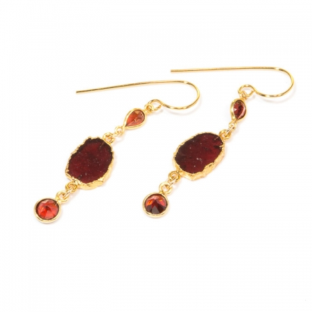 Garnet Slice Gold Earrings