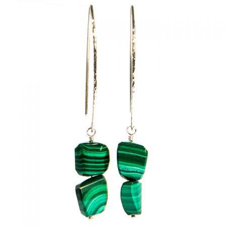 672147E Malachite Silver Earrings by La Isla Jewelry