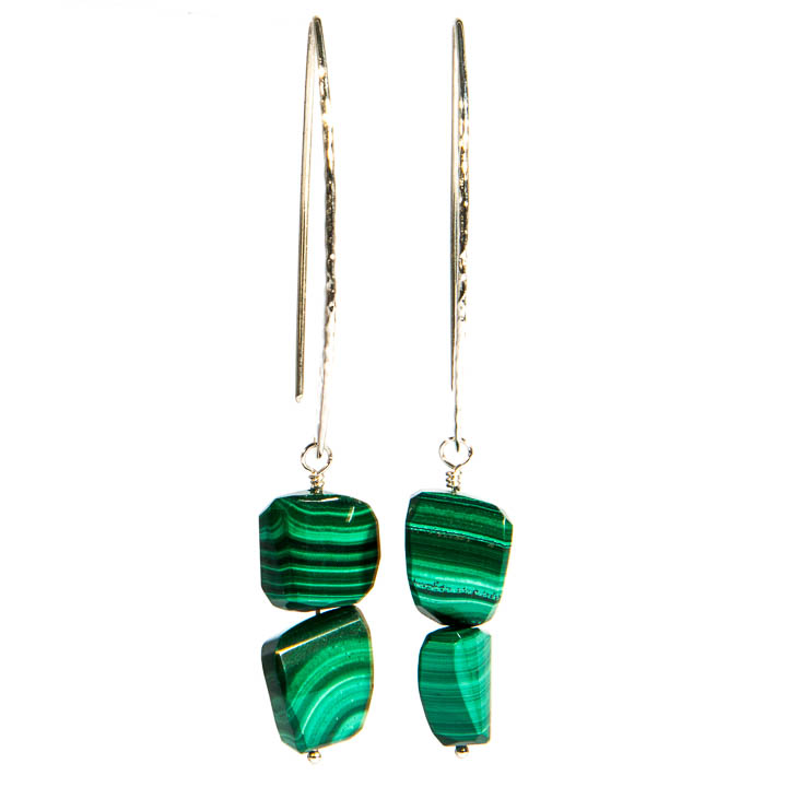 Malachite Silver Dangle Earrings
