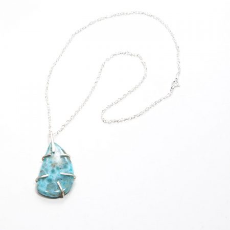 482103P Larimar Prong Set Pendant Chain Necklace by La Isla Jewelry