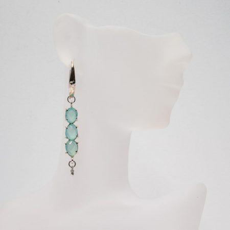 681119E Hanging View of SIlver Chalcedony Earrings by La Isla Jewelry