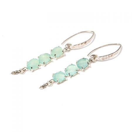 681119E SIlver Multi-Stone Chalcedony Earrings by La Isla Jewelry