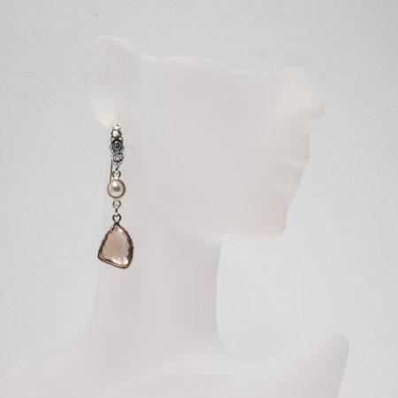 681122E Hanging View Ametrine Pearl Silver Earrings by La Isla Jewelry