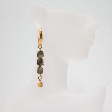 681218E Hanging View of Model Multi Labradorite Gold Earrings by La Isla Jewelry