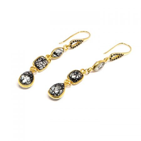 682228E Gold Tourmilated Quartz and Spinel Dangle Earrings by La Isla Jewelry