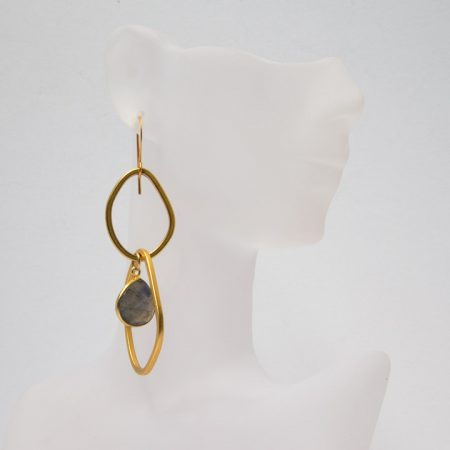 882207E Hanging View Labradorite Dangle on Gold Hoop Earrings by La Isla Jewelry
