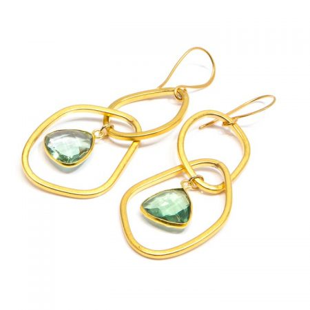 882208E Gold Earrings with Fluorite by La Isla Jewelry