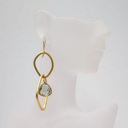882208E Hanging View Gold Earrings with Fluorite by La Isla Jewelry