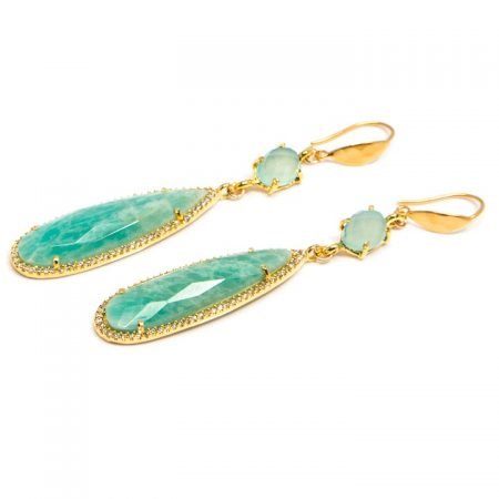 1681204E Long Gold Amazonite Drops with Chalcedony Earrings by La Isla Jewelry