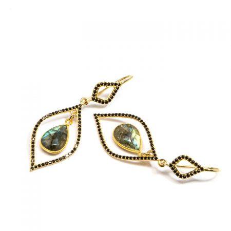 681209E Spinel and Labradorite Gold Leaf Earrings by La Isla Jewelry