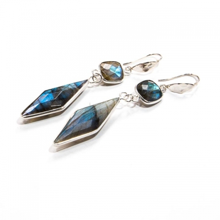 Labradorite Silver Drop Earrings by La Isla Jewelry