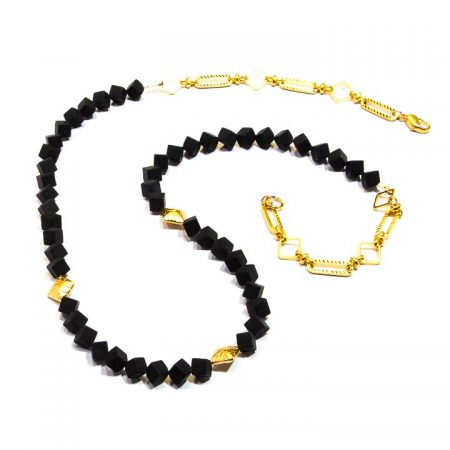 885214 Black Onyx Gold Chain Necklace by La Isla Jewelry