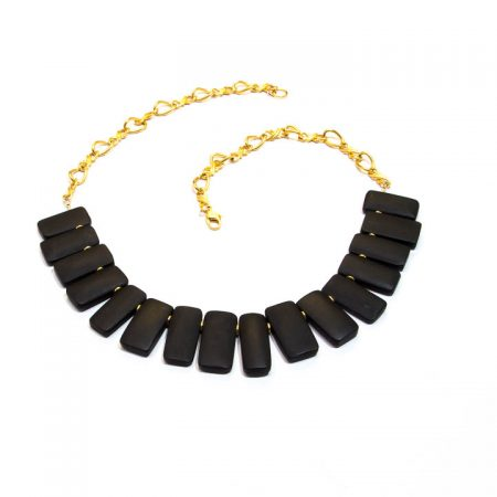 885215 Black Onyx Gold Collar Necklace by La Isla Jewelry