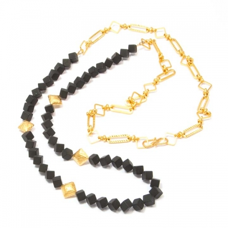 Black Onyx Gold Chain Necklace Alternate View