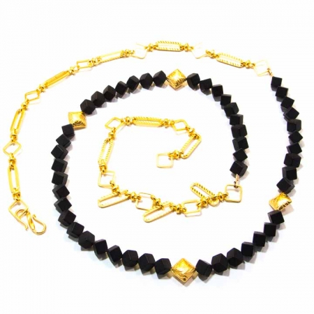 Black Onyx Gold Chain Necklace