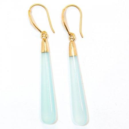 Chalcedony Long Drop Gold Earrings Alt View by La Isla Jewelry