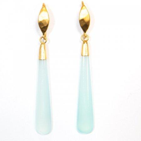 Chalcedony Long Drop Gold Earrings Front View by La Isla Jewelry