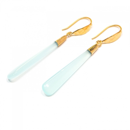 Chalcedony Long Drop Gold Earrings by La Isla Jewelry