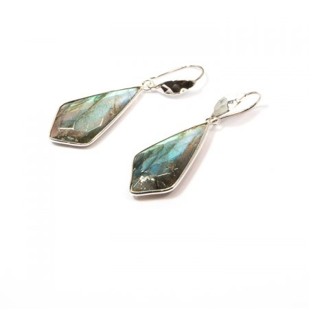 691104E Labradorite Diamond-Shaped Drop Silver Earrings by La Isla Jewelry