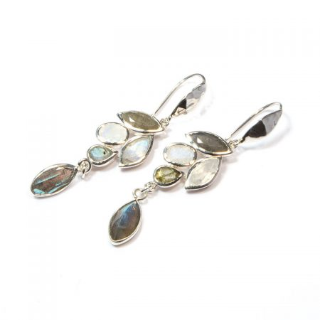 691120E Labradorite Moonstone Silver Earrings by La Isla Jewelry