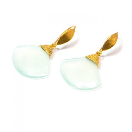 Chalcedony Fan Gold Earrings by La Isla Jewelry