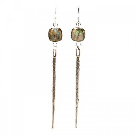 Hanging VIew Labradorite Silver Dagger Earrings