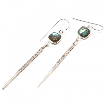 Labradorite Silver Dagger Earrings