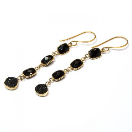 8884240E Black Onyx Tiered Gold Earrings by La Isla Jewelry