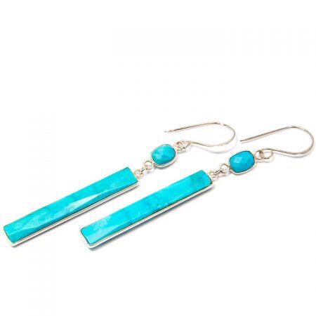 891102E Turquoise Rectangular Dangle Silver Earrings by La Isla Jewelry