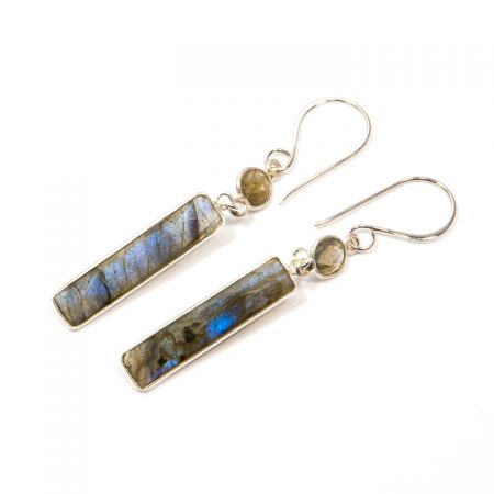 891103E Labradorite Rectangular Drop Silver Earrings by La Isla Jewelry