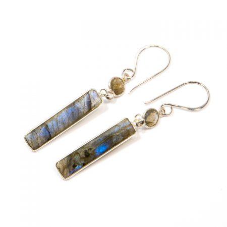891103E Labradorite Rectangular Drop Silver Earrings by La Isla Jewelry