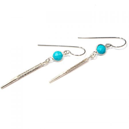 891113E Silver Spike Turquoise Earrings by La Isla Jewelry
