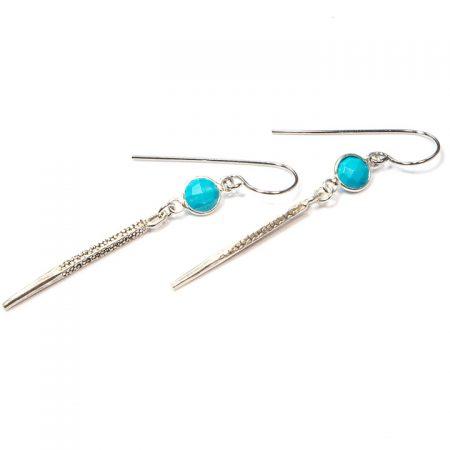 891113E Silver Spike Turquoise Earrings by La Isla Jewelry