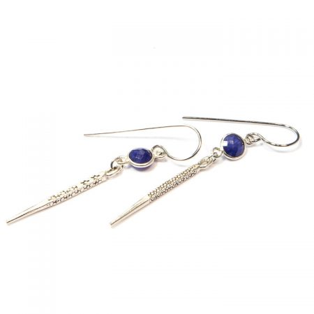 891118E Silver Spike Blue Lapis Earrings by La Isla Jewelry