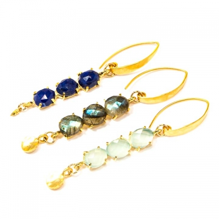 Multi-Stone Gemstone Gold Earring Collection by La Isla Jewelry