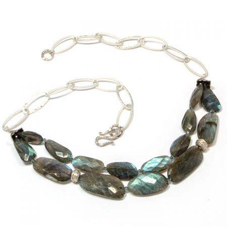 675147N Labradorite Shimmer Silver Necklace by La Isla Jewelry