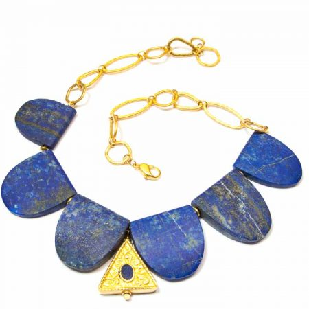 675234N Blue Lapis Scallop Gold Necklace by La Isla Jewelry
