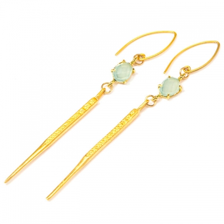 Gold Dagger Earrings with Chalcedony Accent Earrings