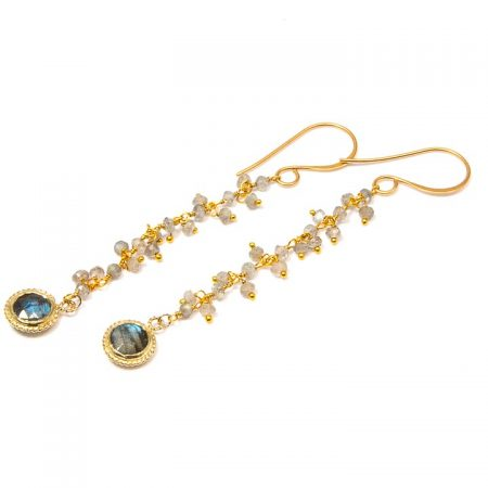 884245E Labradorite Gold Chain Earrings by La Isla Jewelry