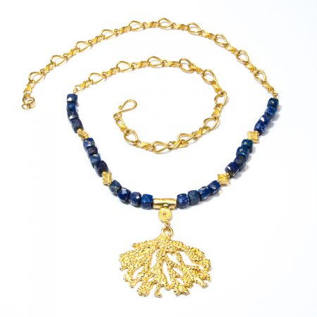 891115N Blue Lapis Gold Chain and Pendant Necklace by La Isla Jewelry