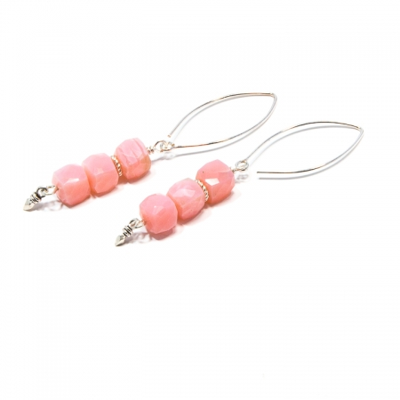 891117E Pink Peruvian Opal Silver Dangle Earrings by La Isla Jewelry