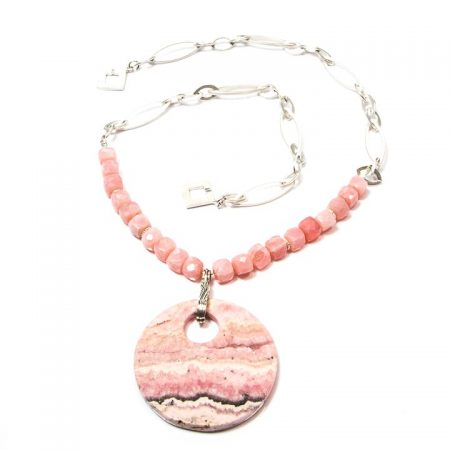 891117N Pink Peruvian Opal with Rhodochrosite Pendant Silver Chain Necklace by La Isla Jewelry