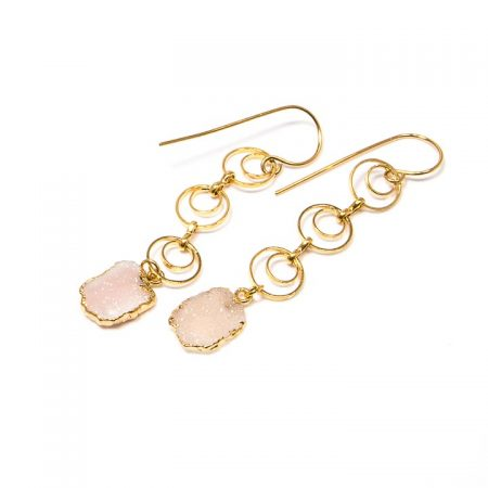 Druzy Rose Chalcedony Slices on Gold Chain Earrings