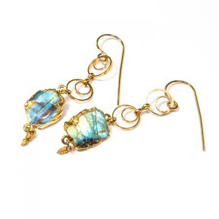 891210E Labradorite Slices on Gold Chain Earrings by La Isla Jewelry