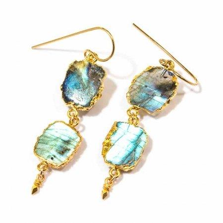 Labradorite Gold Dangle Slice Earrings