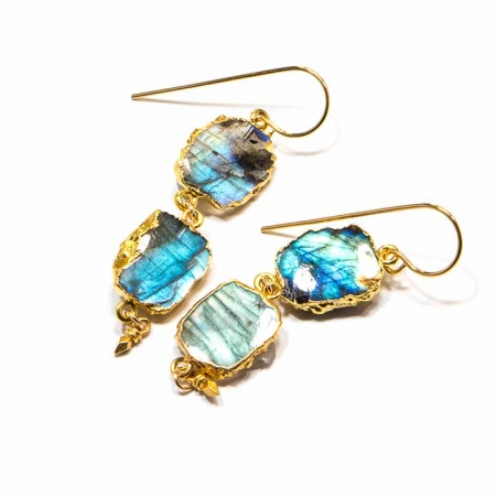 Labradorite Slice Gold Dangle Earrings