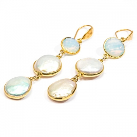 Pearl and Opalite Gold Dangles