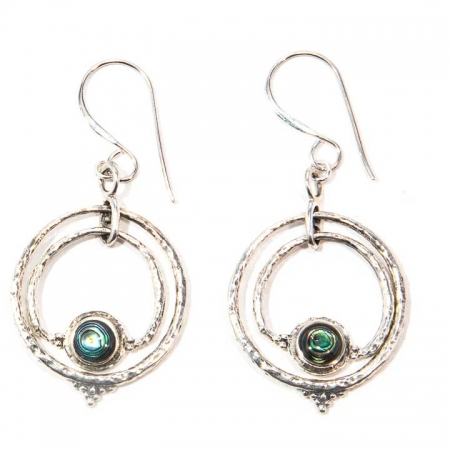 Abalone Concentric Circle Sterling Silver Earrings Hanging View