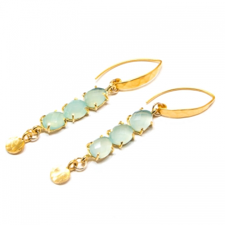 Multi-Stone Chalcedony Gold Earrings